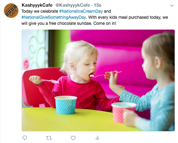 Restaurant Hashtag for National Ice Cream Day and Giveaway