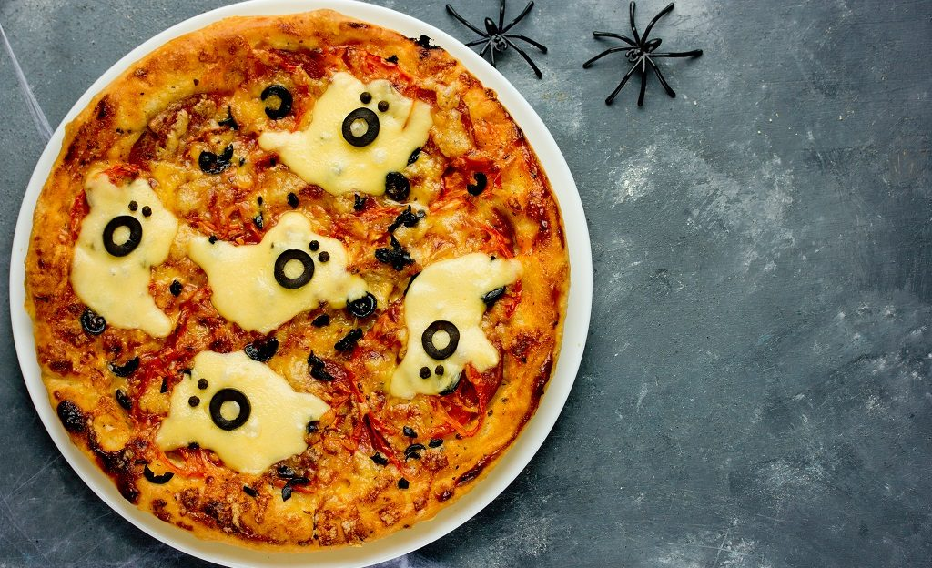 Halloween Pizza with Ghost Cheese