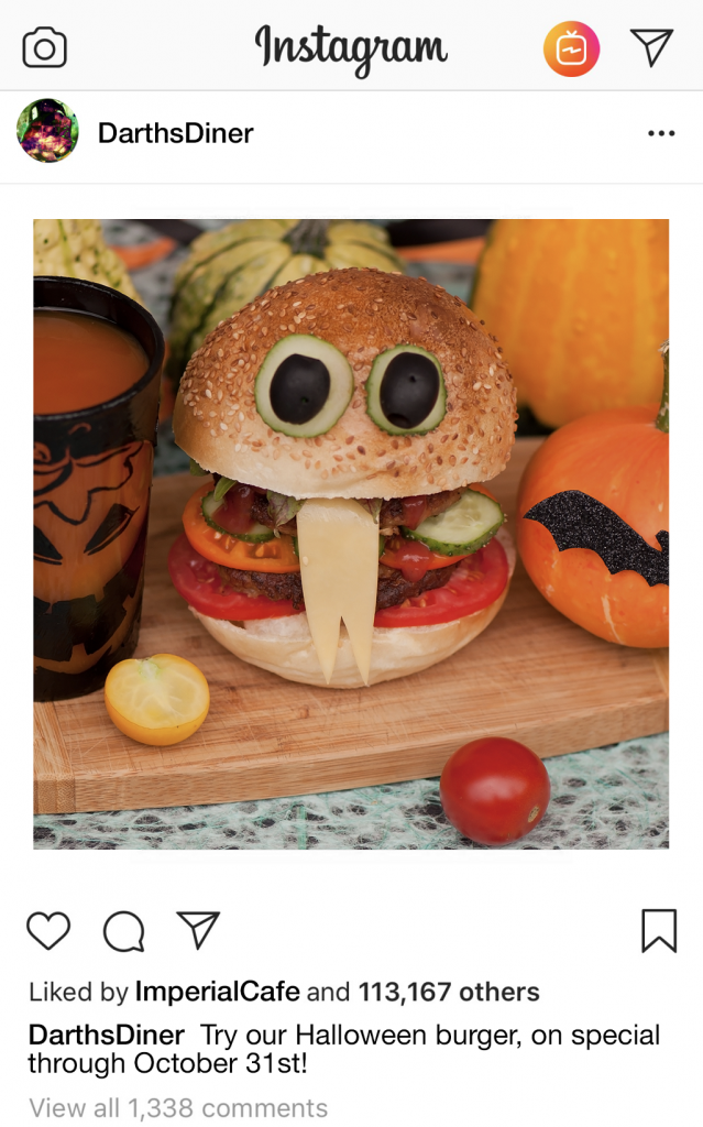 Instagram Post with a Halloween Burger