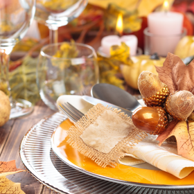 Thanksgiving Place Setting and Centerpiece at a Restaurant