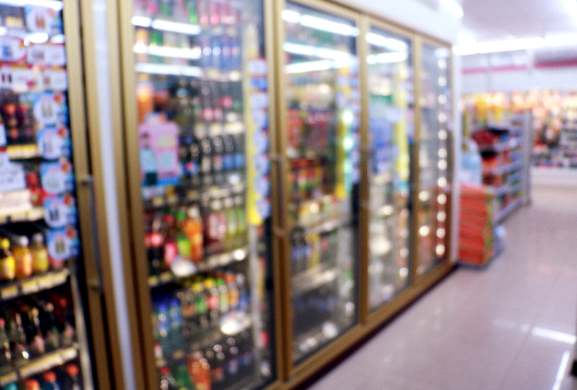 Blurred Merchandiser Cold Cases—Convenience Store Cleaning Checklist