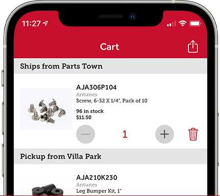 Parts Town App: Synchronized Shopping Cart