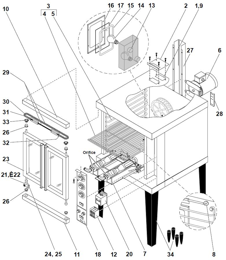 Duke 613 Oven E Series Parts Diagram