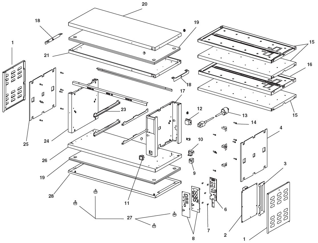 Prince Castle Dhb Bk Parts Diagram Town Motherboard Product Holding Bin Exploded View